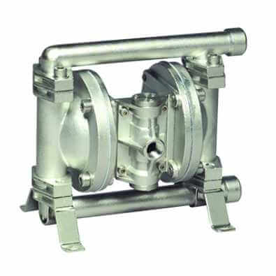This metallic diaphragm pump has corrosion resistance, ATEX certification and end porting for max flow rates